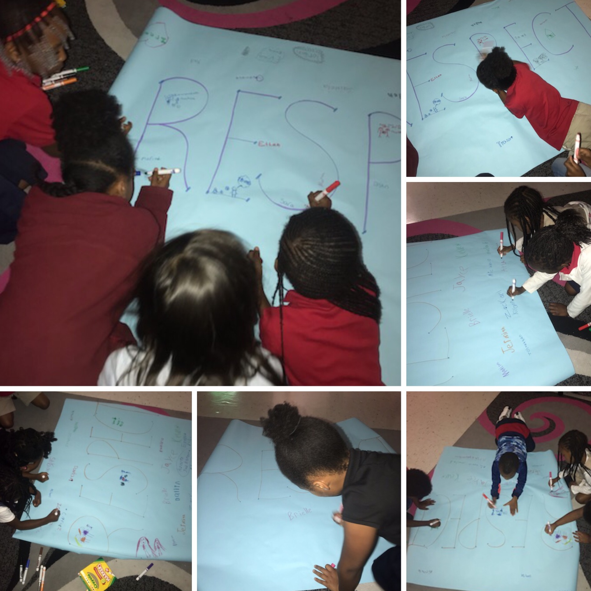 Morrow Elementary students creating posters about respect-for-all