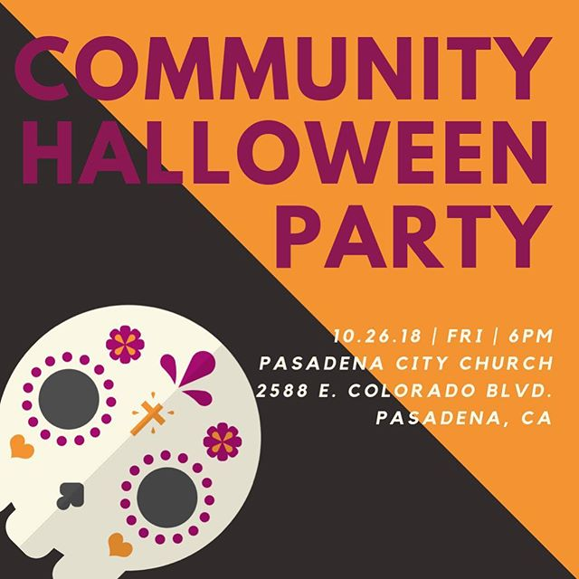 Join us for our Annual Halloween Party! Every year we throw this FREE event to provide the community of east Pasadena some family friendly Halloween fun. There will be food, games, inflatables, TONS of candy, and a costume contest! Can't wait to see you there!