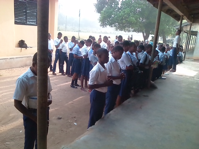Students at the Ikot Ekpayak Secondary School in Akwa Ibom State, Nigeria,the current focus of   Project REBUILD .