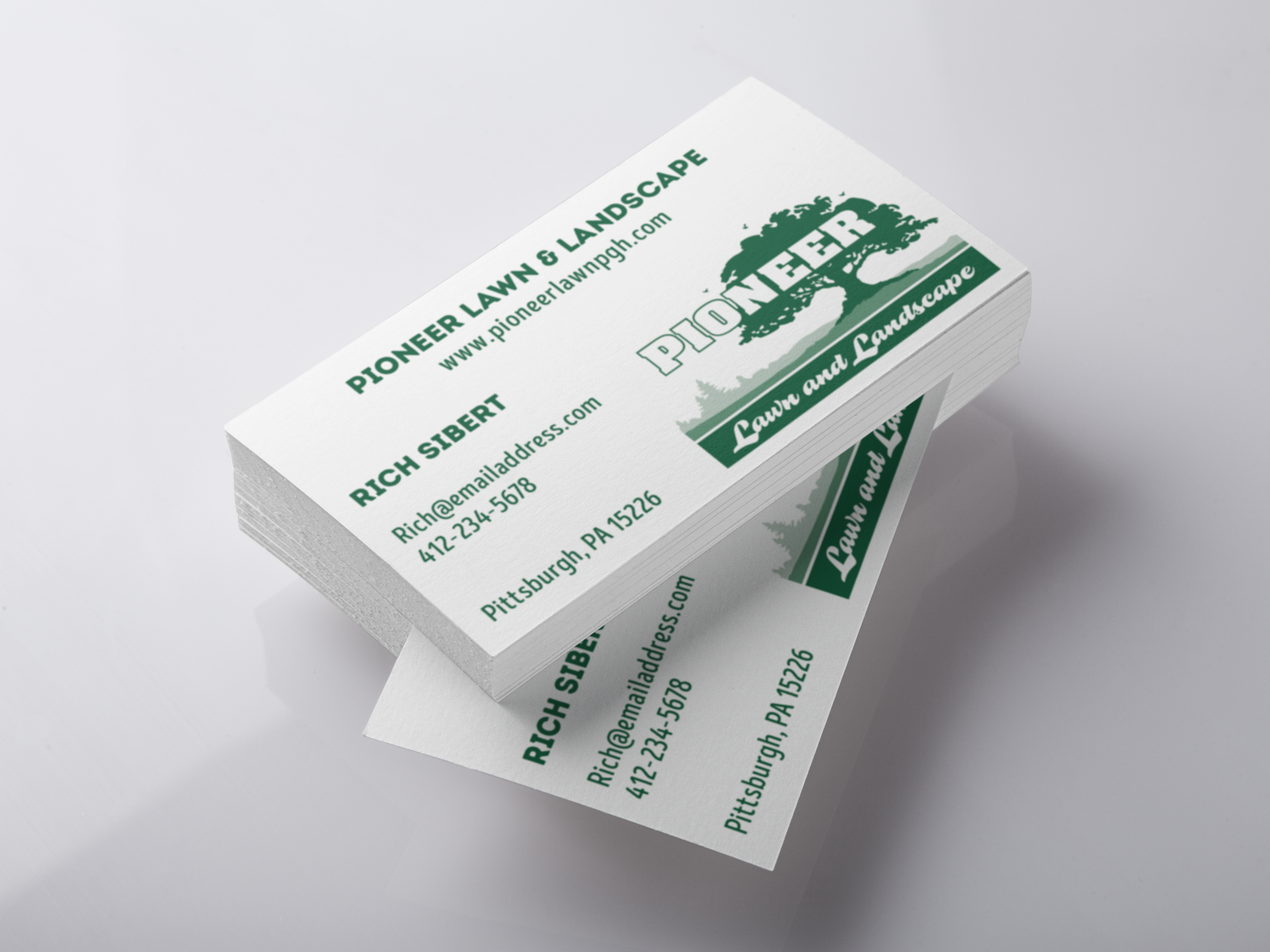 Pioneer Lawn Business Card - This project was done for a new business. The client had a good idea of what they wanted & needed someone to translate that into a finished product. It was done using Adobe Illustrator CC and we also went on to print t-shirts for this client as well.