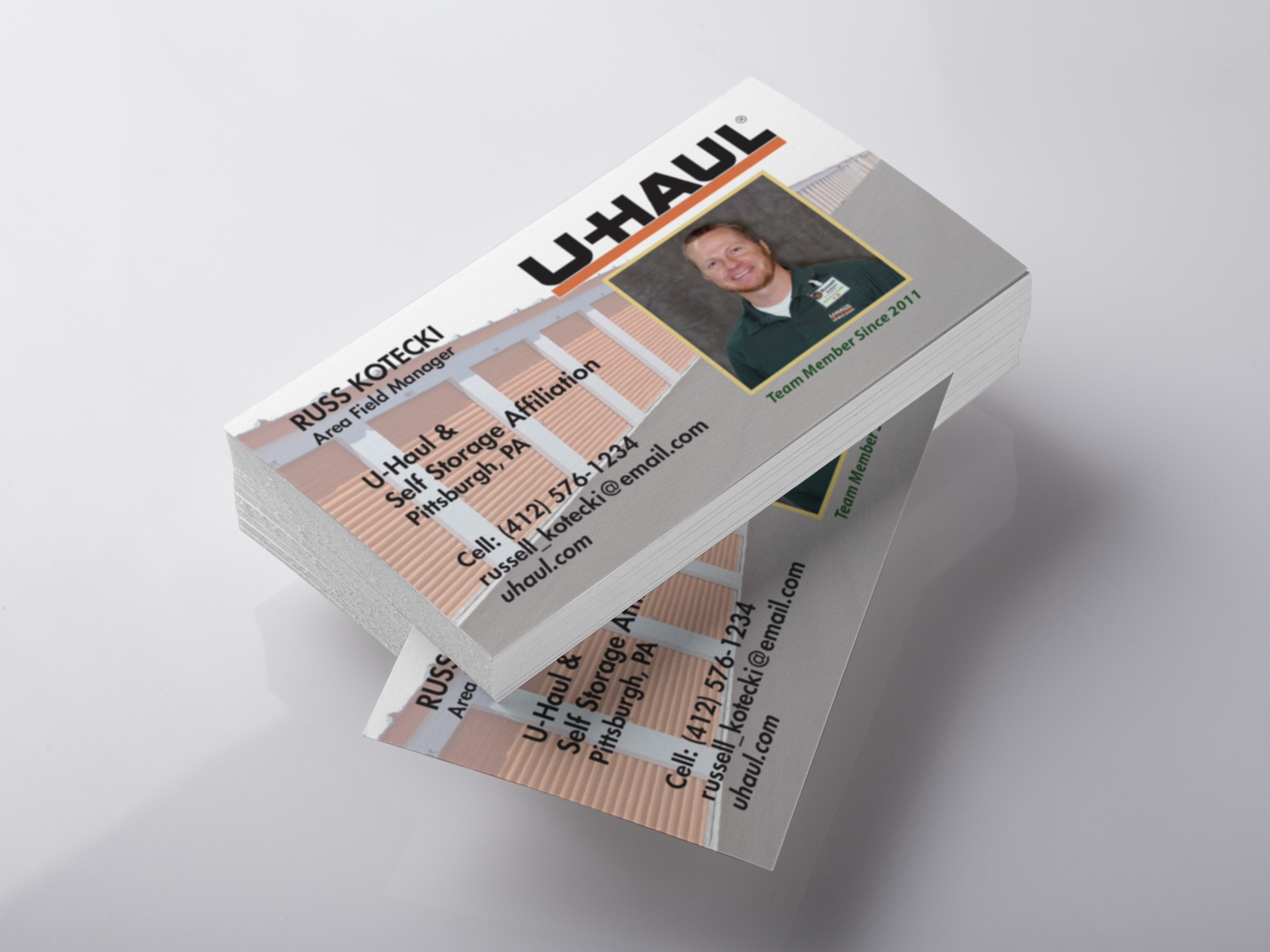 UHAULBusiness Card - This was a business card designed for a local Area Field Manager for UHaul. He provided the pictures of some storage units and we worked together to create a design he was happy with. It was made using Adobe Illustrator CC.