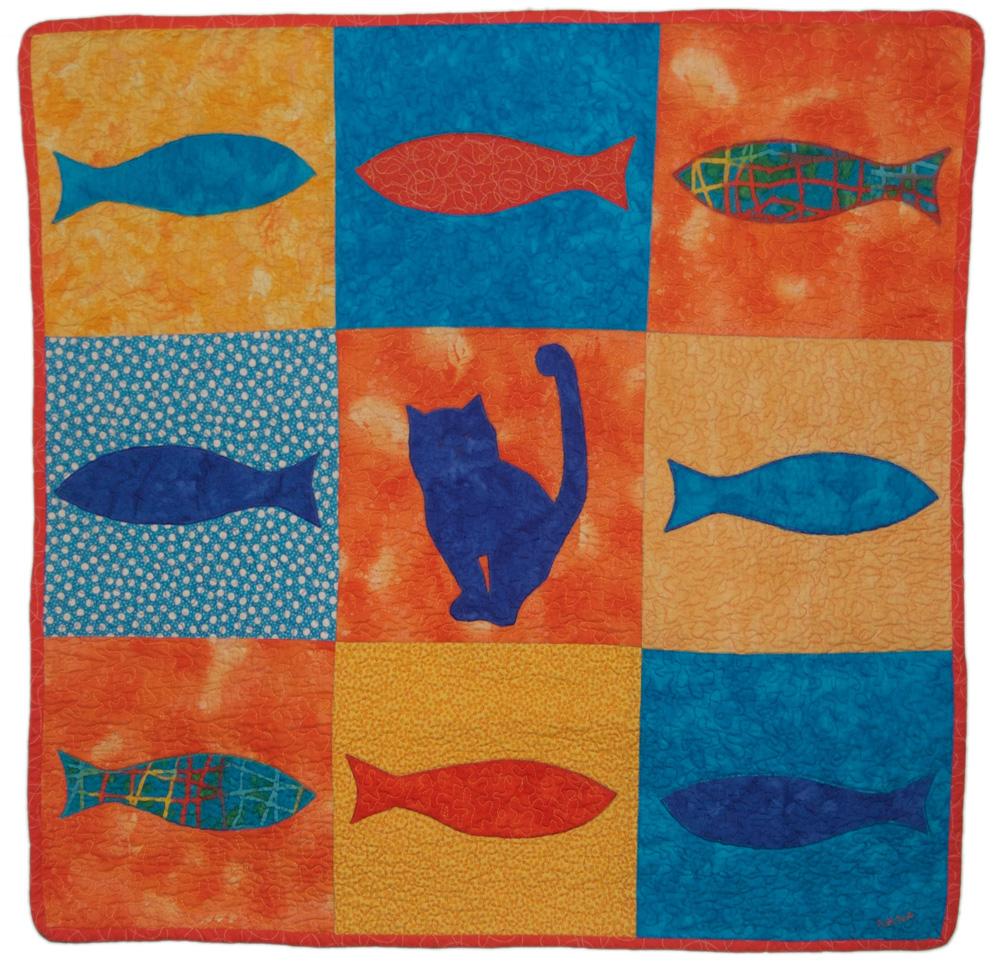 cat & fish baby quilt