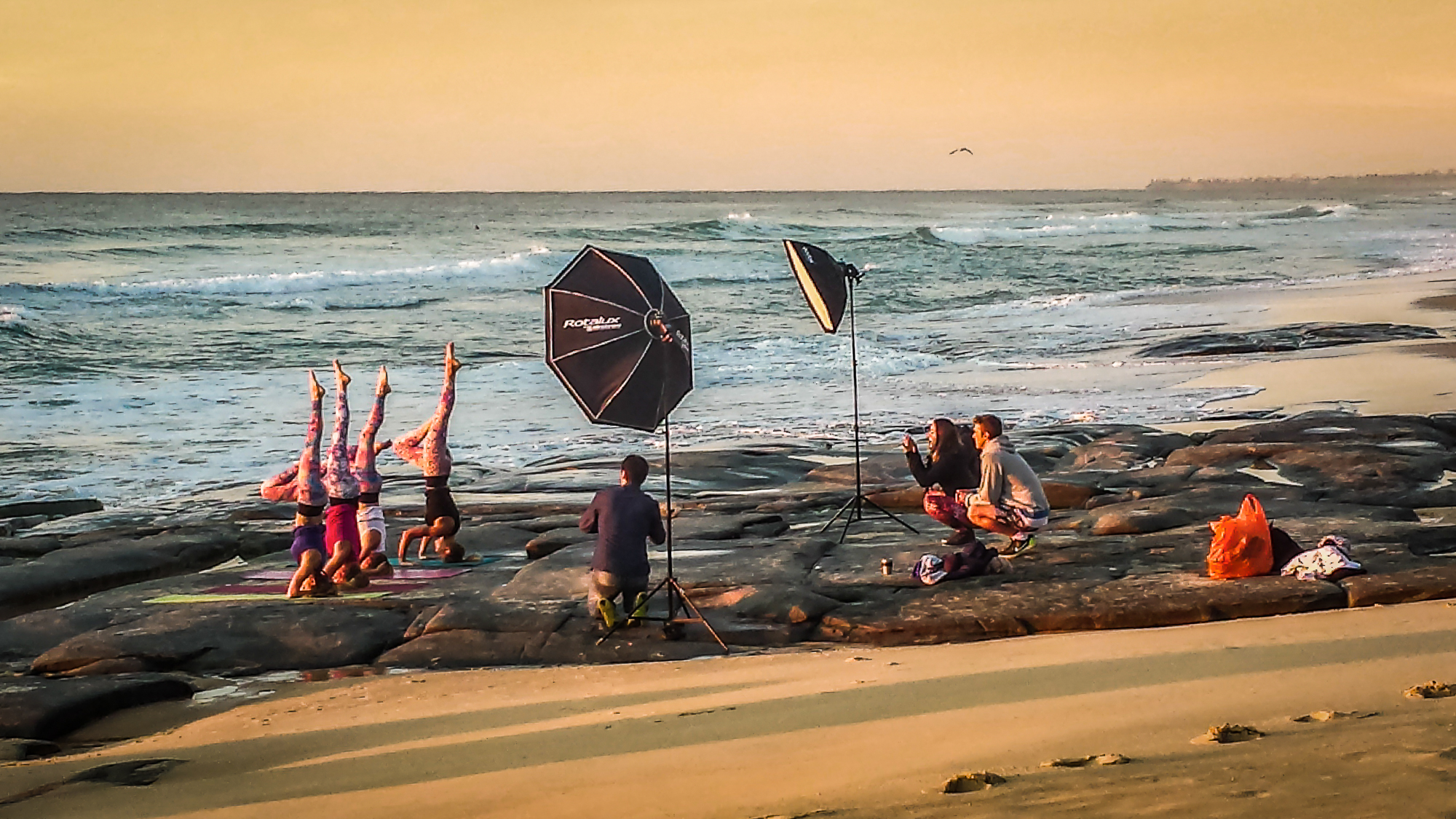 Yoga Clothing, early morning photo shoot at point Cartwright