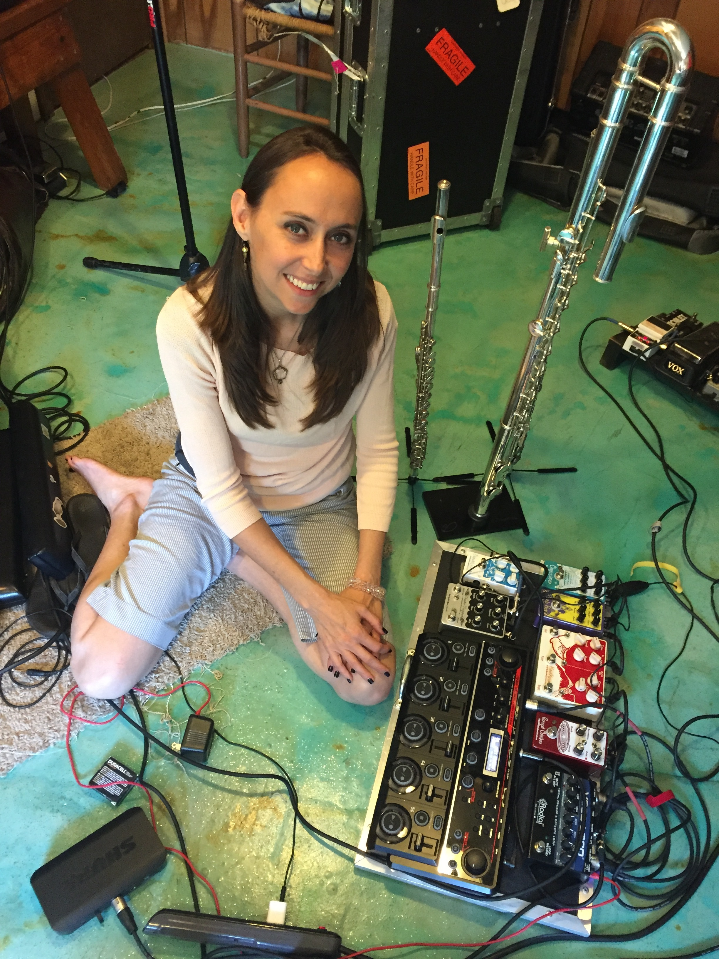 The Queen and her Royal Office, Sarah Jane Hargis at her pedal board.