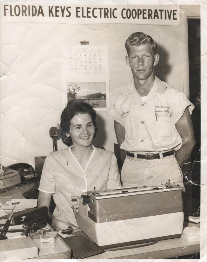 My grandparents, David & angela davis, at the florida keys electric co-op where they worked together in 1951.