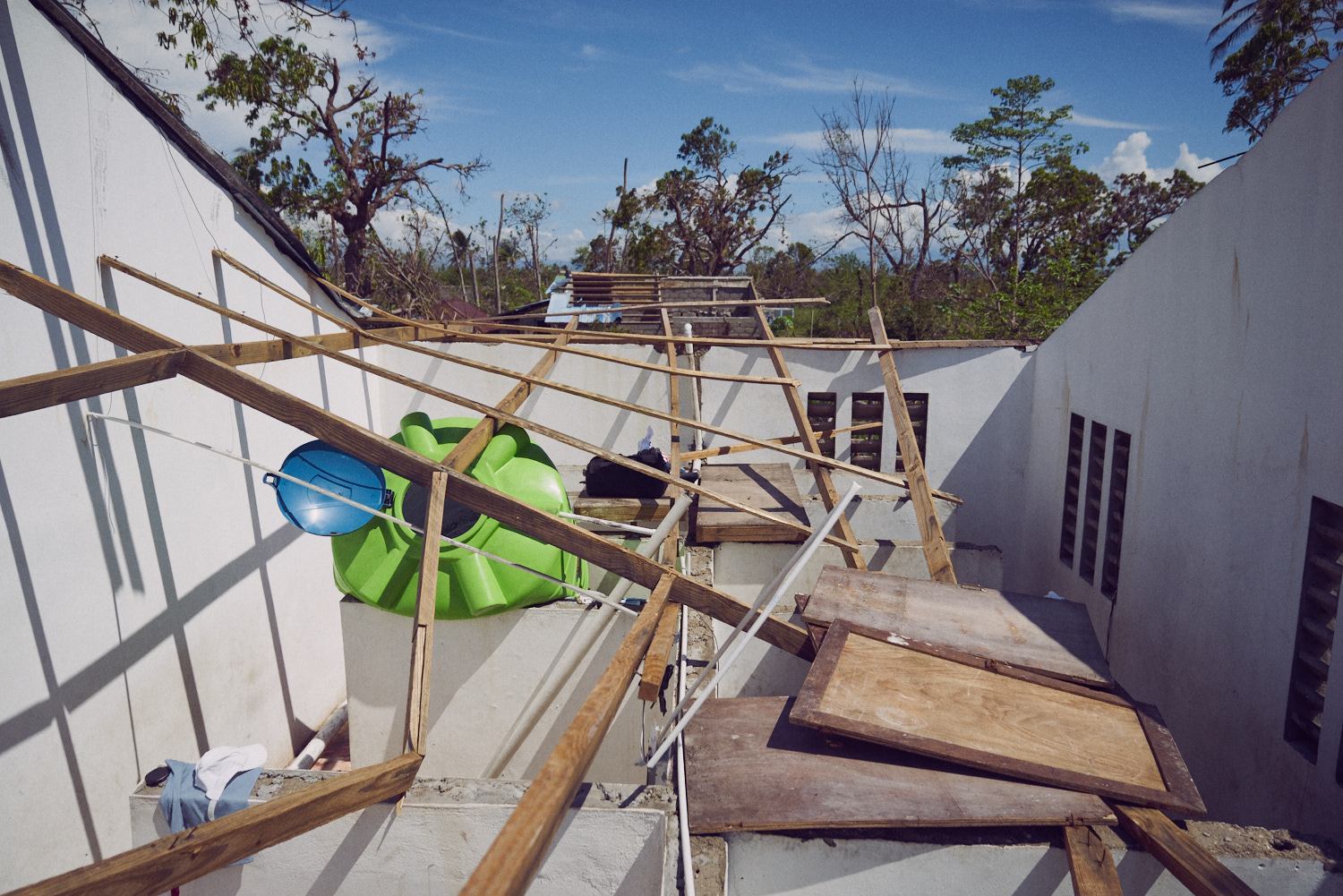 In the aftermath of Hurricane Matthew, an entire section of roof was missing.