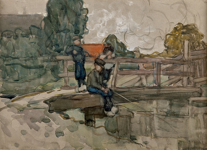 Frances Hodgkins Painting Boys Fishing