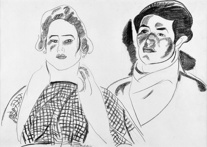 Frances Hodgkins Drawing Cassis Quarryman and Wife