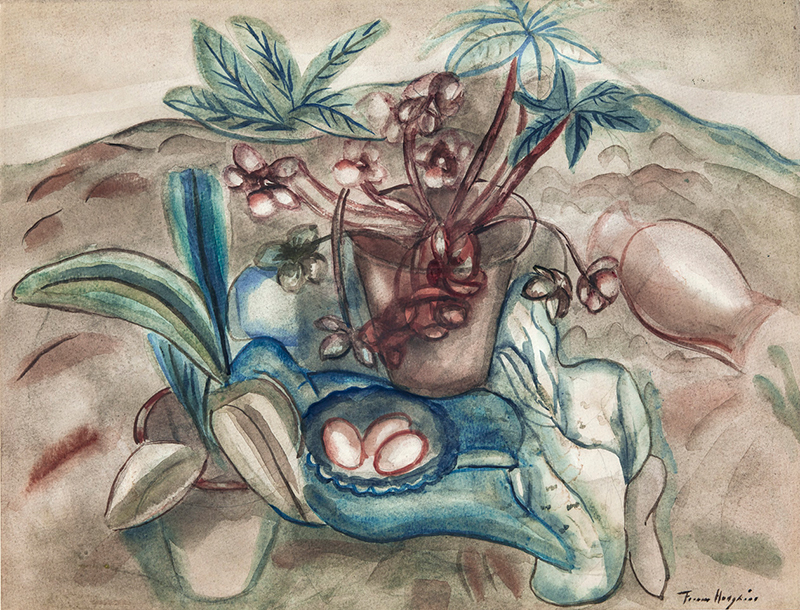 Frances Hodgkins, Flowers and Spanish Pottery