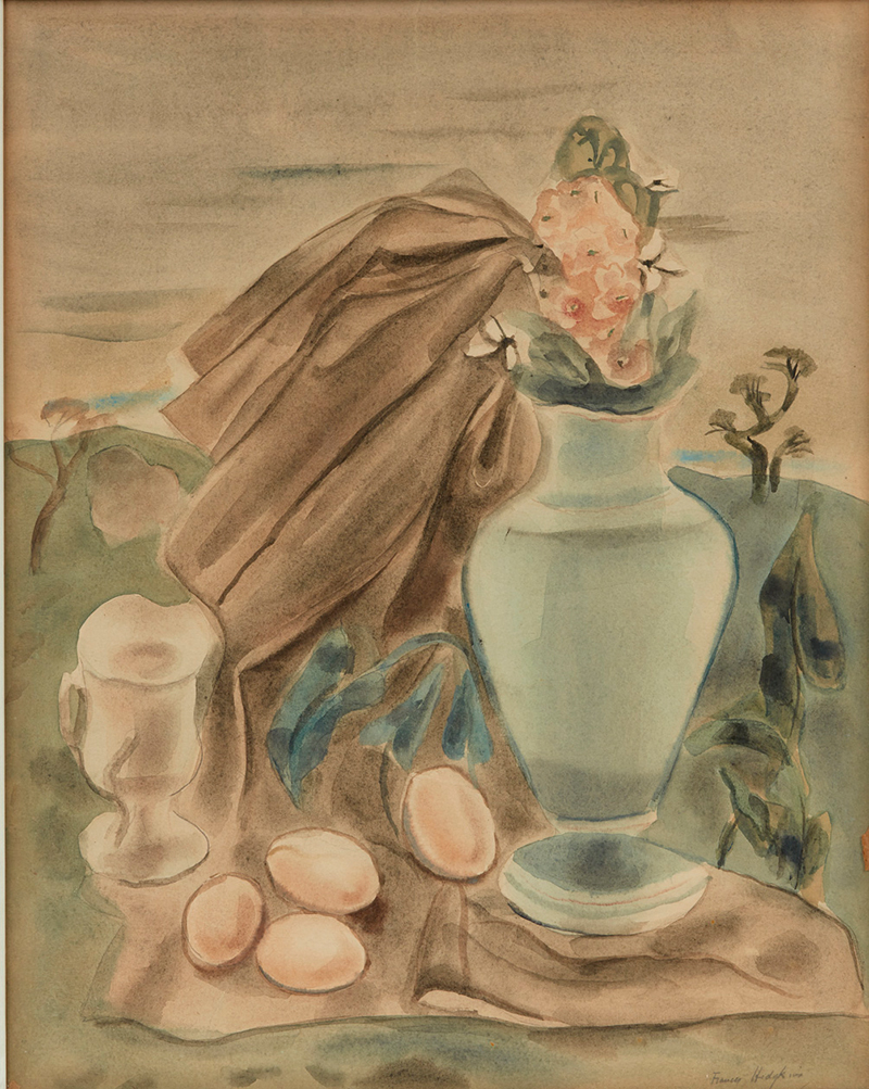 Frances Hodgkins, Still Life with a Vase of Flowers and Eggs