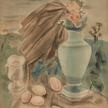 Still Life with a Vase of Flowers and Eggs