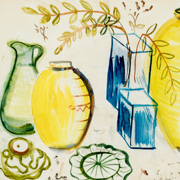 Frances Hodgkins - Still Life with Arrangement of Jugs