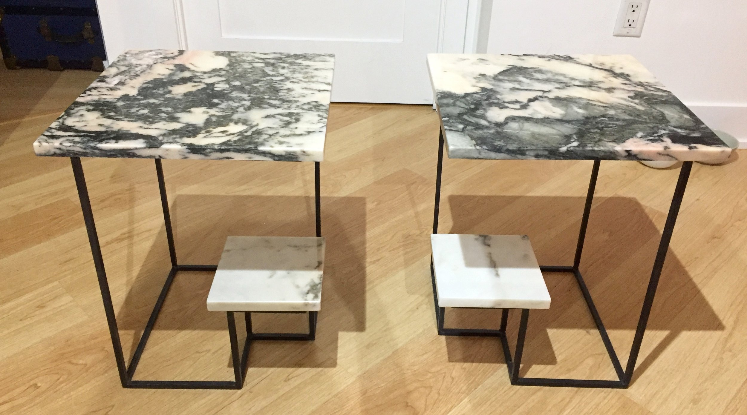 Side Tables. Steel, Portugese marble. 2016