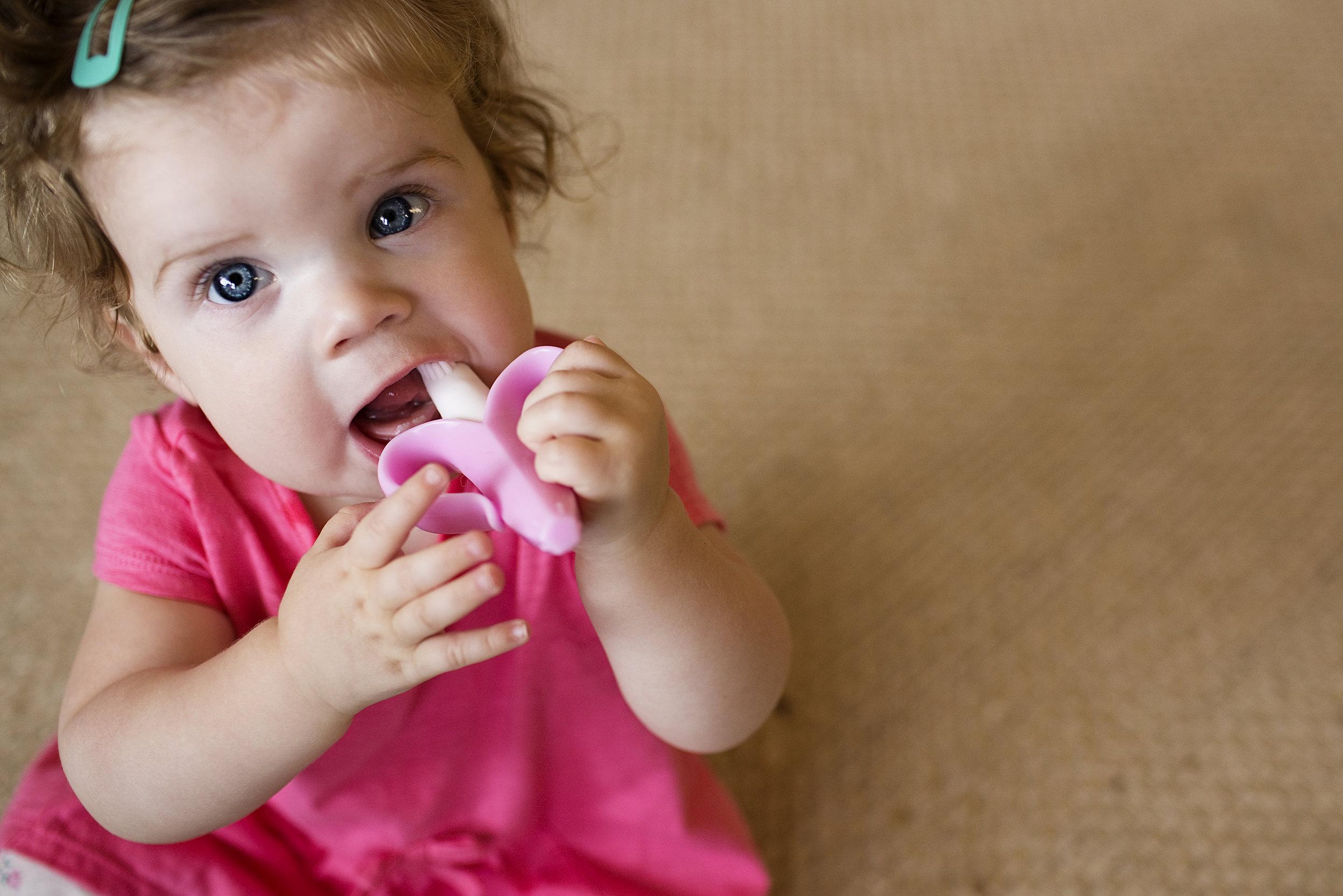 Pink Baby Banana Brush Roseville Lifestyle Photographer
