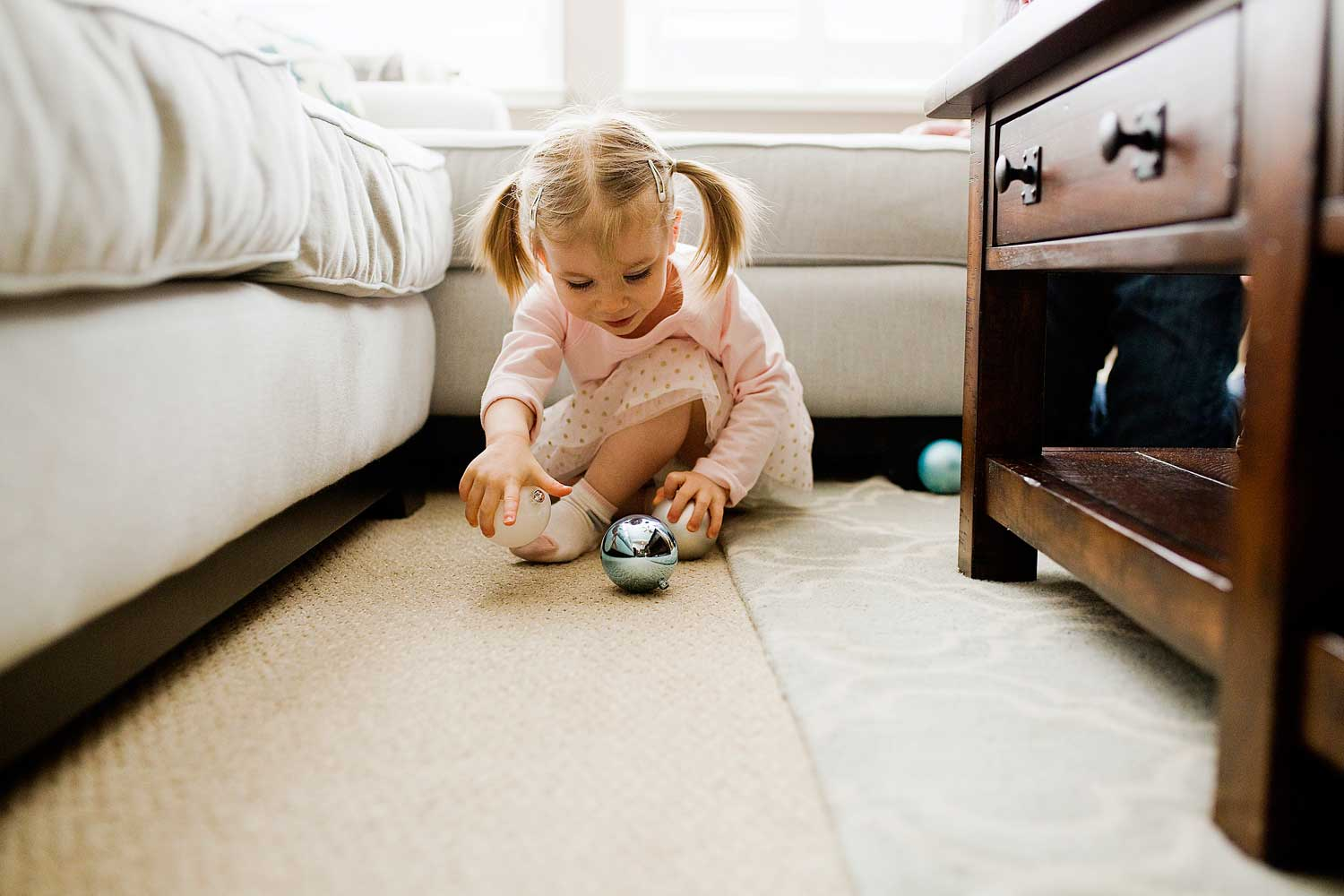 Toddler with ornaments, Amy Wright Photography, Roseville Family Photographer