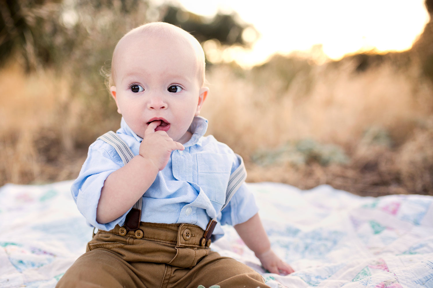 A One Year Old Baby Boy On a Blanket, Amy Wright Photography, Roseville Photographer