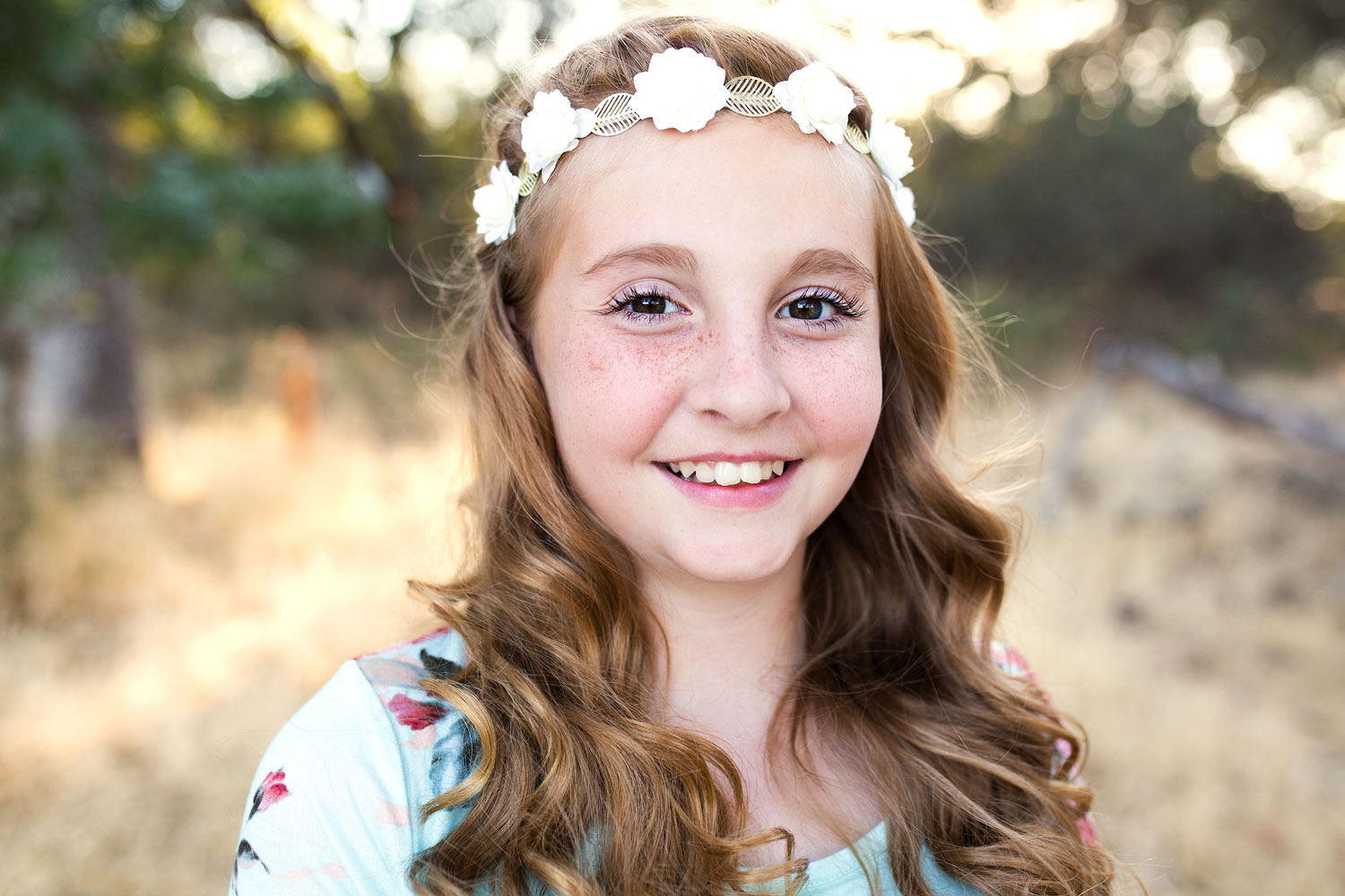 Girl With Flowers In Her Hair, Family of Six, Roseville Family Photographer, Amy Wright Photography