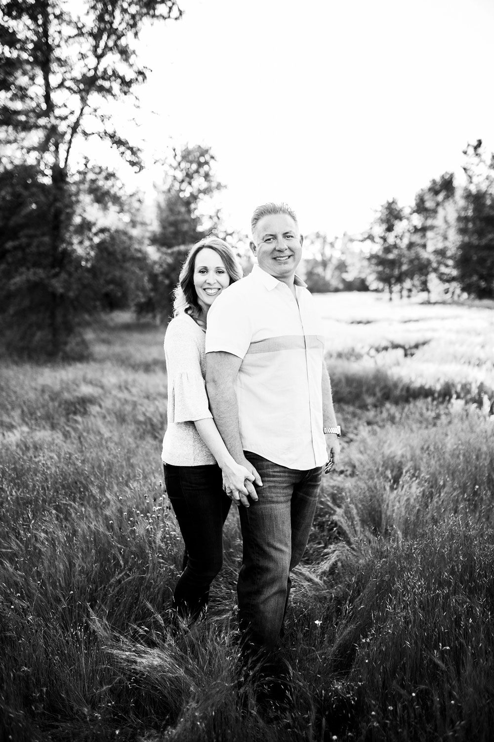 A couple is happy together during a photo session in Roseville, California.
