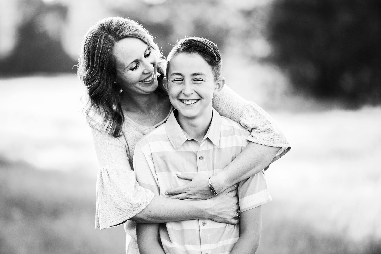 A mother and son are happy together during a family photo shoot in Sacramento, California.