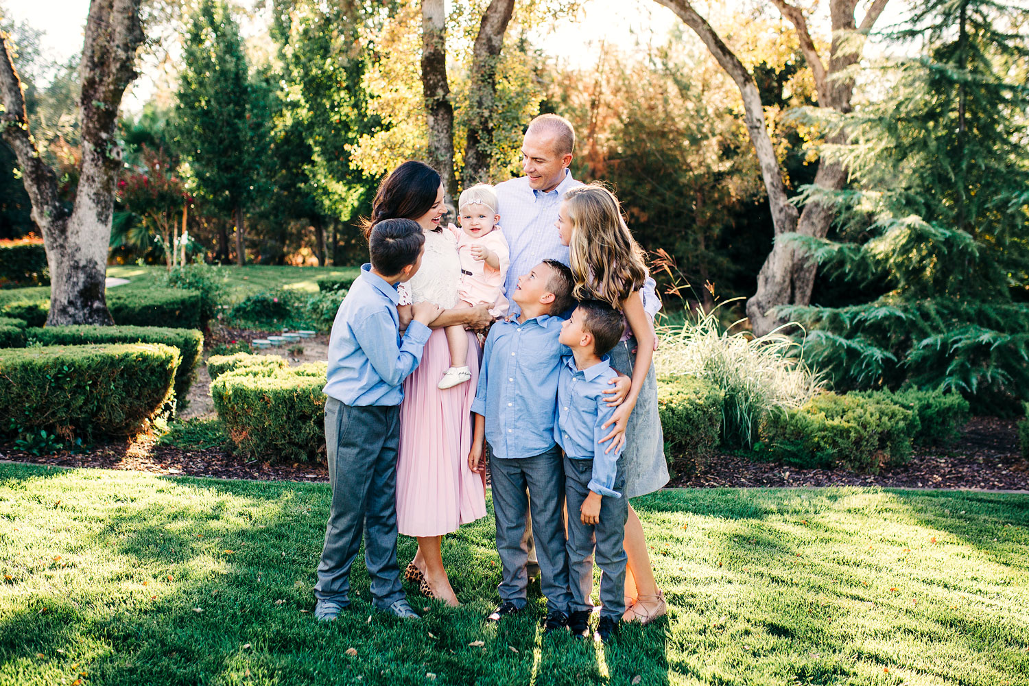 A family of six lovingly embrace each other during a family photo session with Amy Wright Photography in Roseville, California.