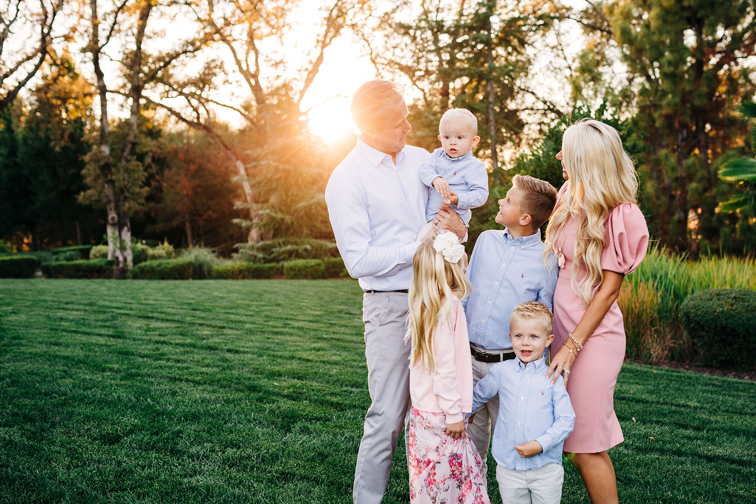 A family of six interact with one another during an extended family photo session with Amy Wright Photography in Roseville, California.