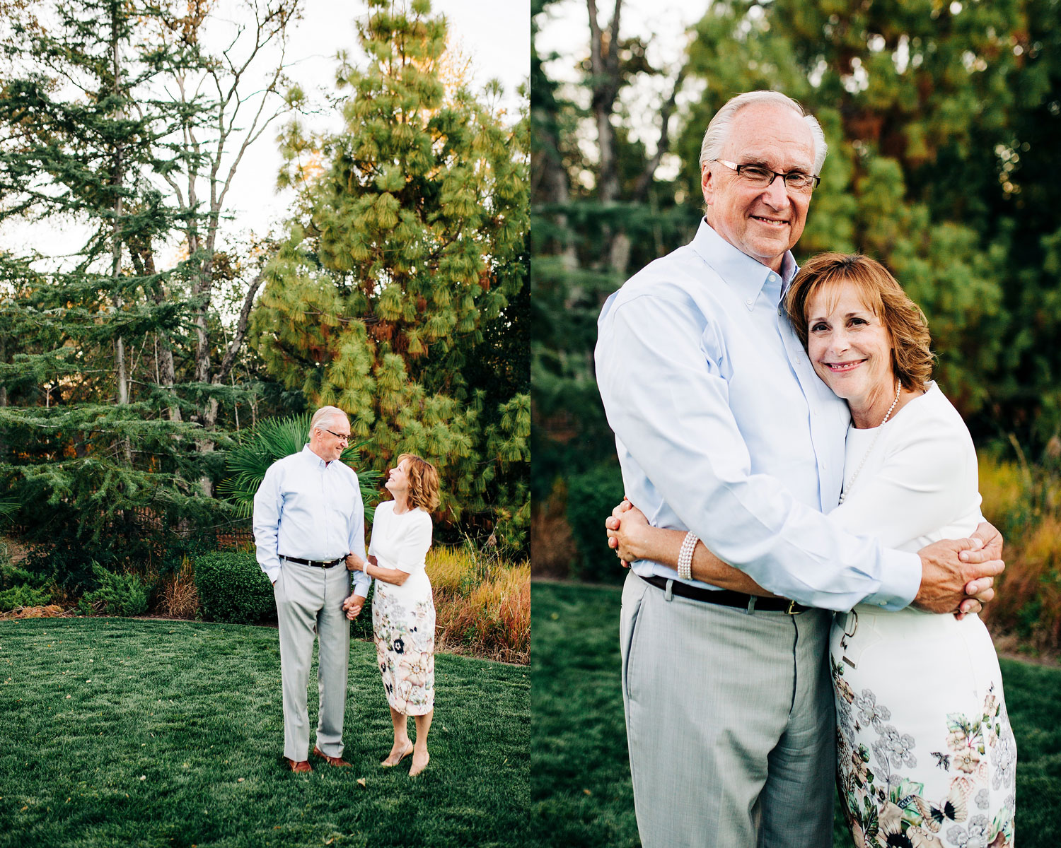 A husband and wife embrace during their extended family photo session with Amy Wright Photography based out of Sacramento, Rocklin, and Roseville, California.