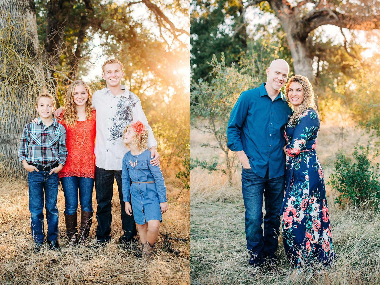 A diptych of four children and their parents from a family mini photo session with Amy Wright Photography in Roseville, California.