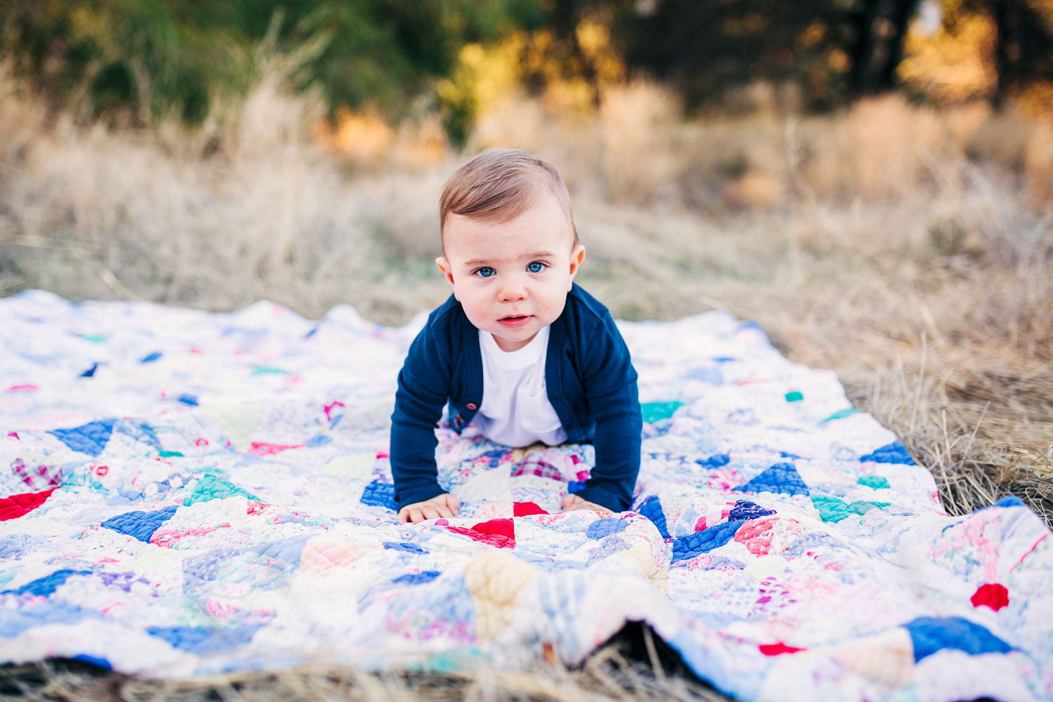 A one-year-old crawls on a quilt during a family photo session with Amy Wright Photography in Roseville, California.