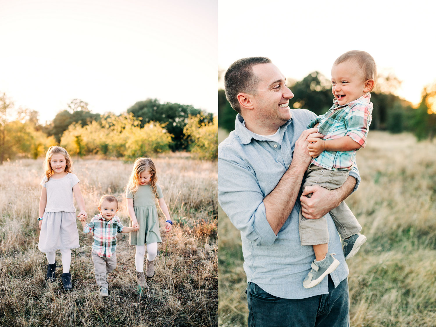 Three siblings walk together and a father playfully holds his son during a family photo session with Amy Wright Photography in Roseville, California.