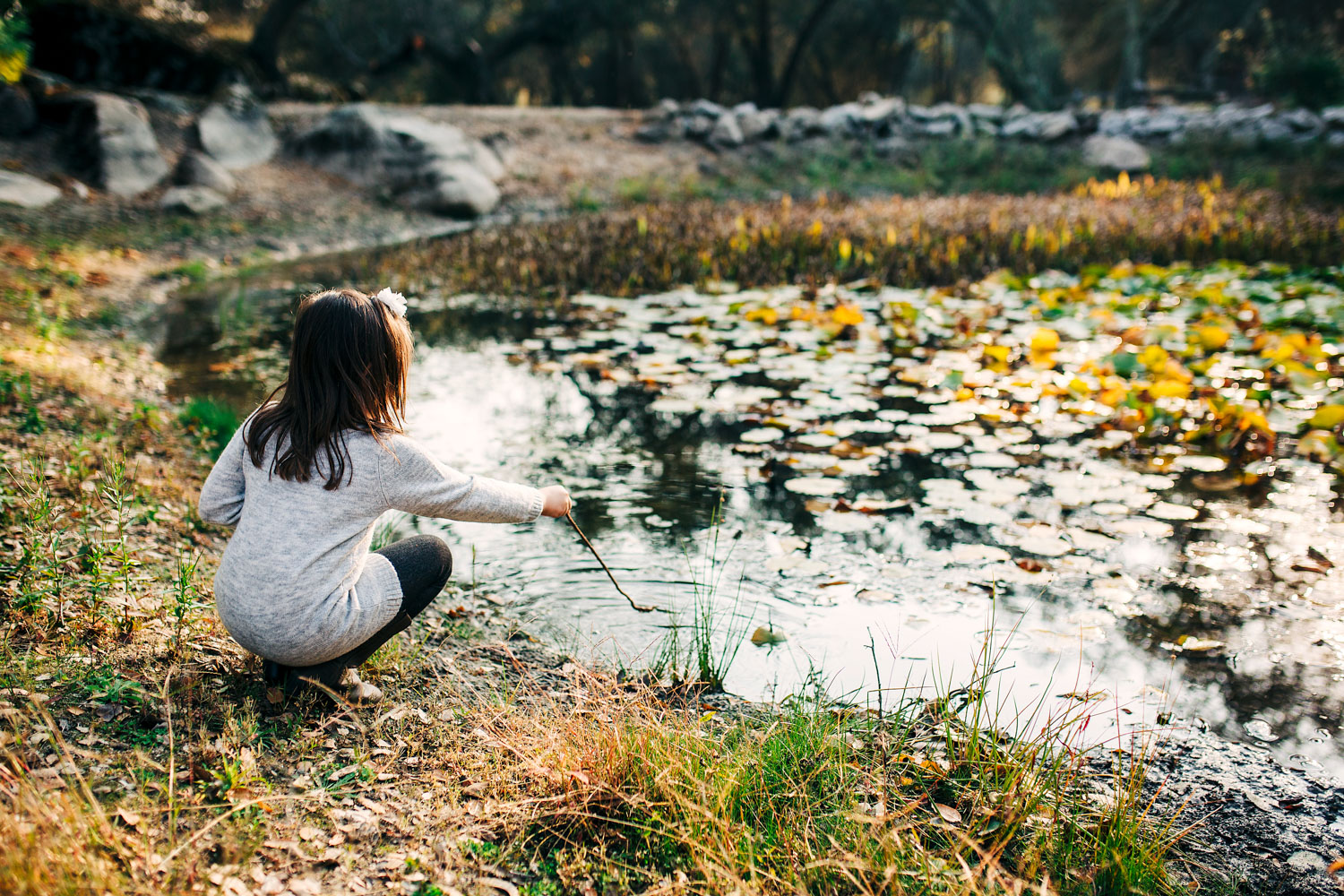 A small girl plays at her front yard pond during a lifestyle home photo session with Amy Wright Photography in Granite Bay, California.
