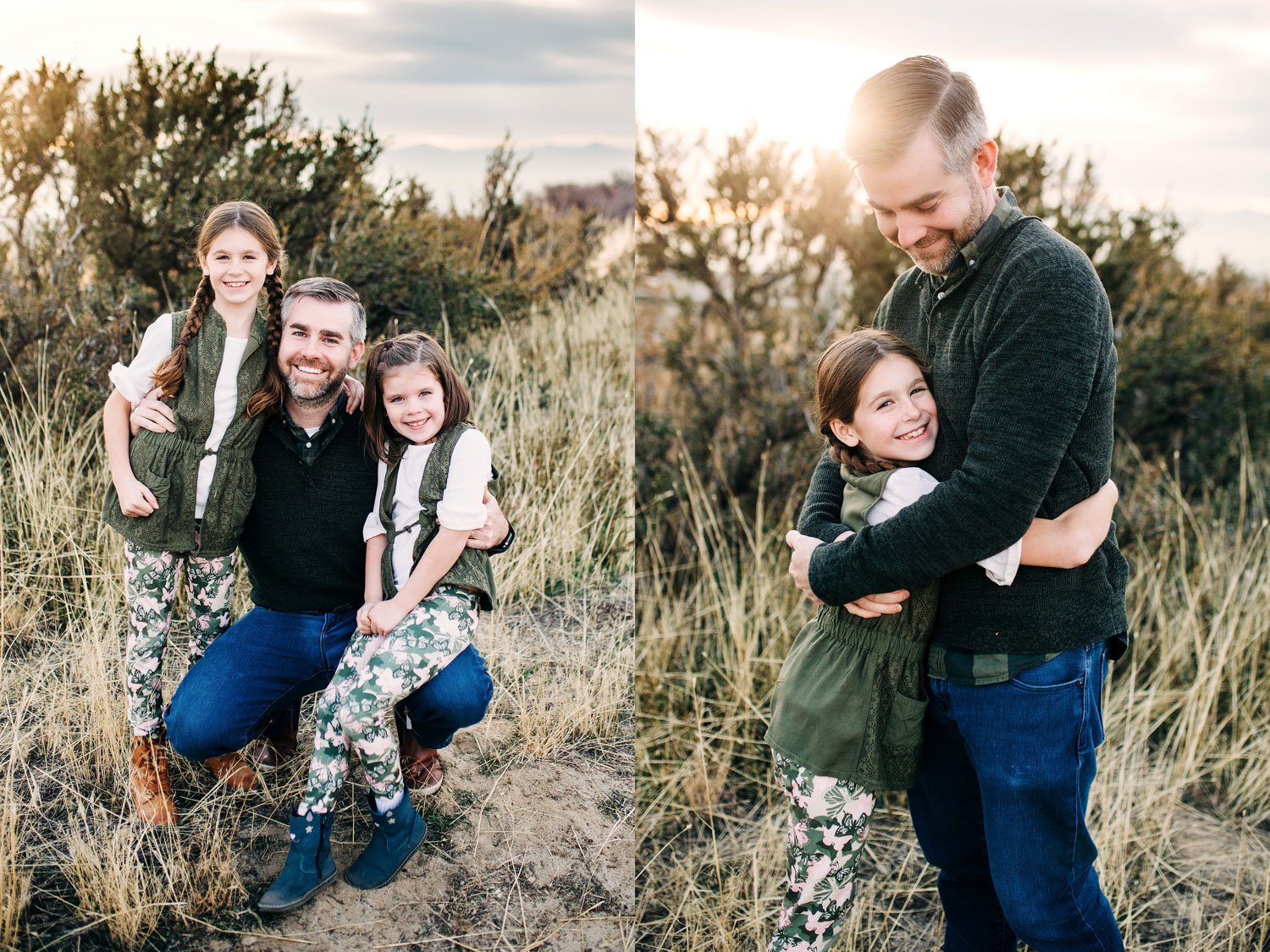 A father poses with his daughters during a lifestyle family photo shoot in Roseville, , California with Amy Wright as their photographer.