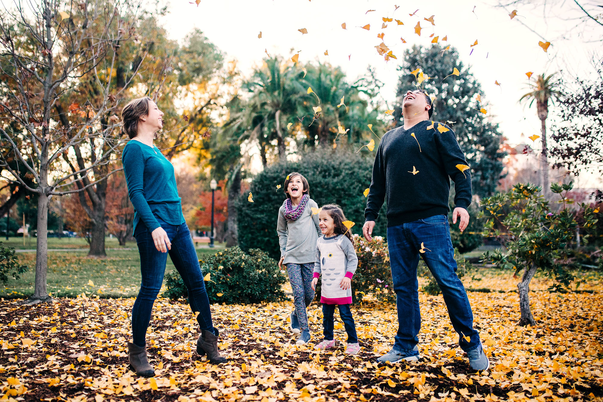 A family of four plays together and tosses up fall leaves during a lifestyle photo session with Amy Wright, a photographer based out of Roseville, California.