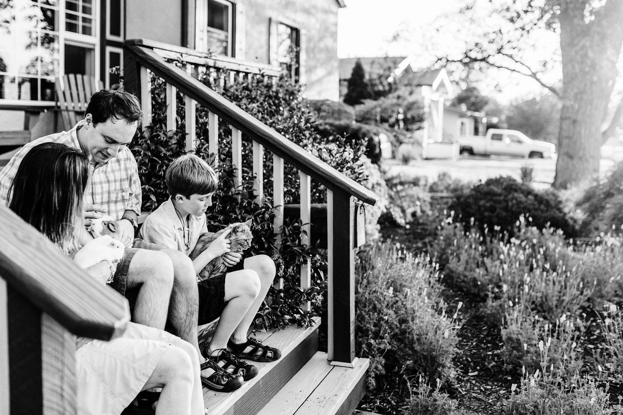 A family sits on their porch with their pets during an evening lifestyle photo session with Roseville photographer Amy Wright.