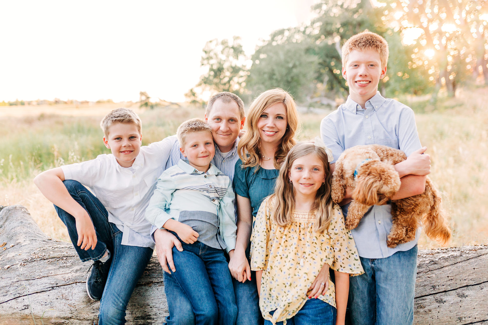 A family of six and their dog gather for a lifestyle photo session with photographer Amy Wright in Roseville, California.