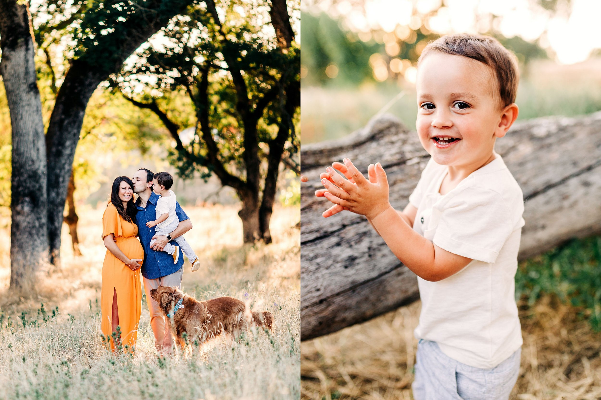 A family of three has a fun-filled maternity photo session with Amy Wright, a lifestyle family photographer in Roseville, California.