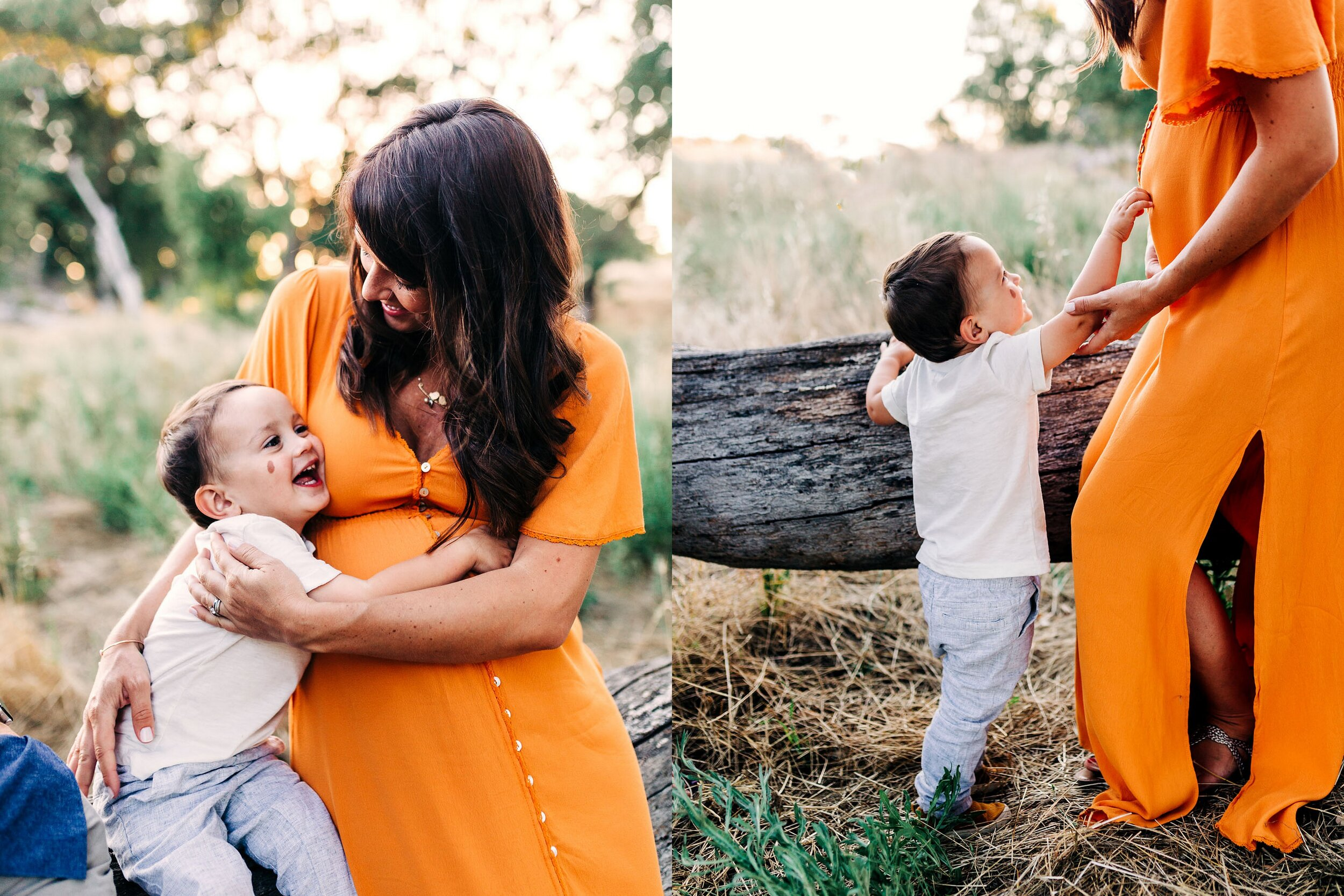 A mother and son connect with each other during a maternity photo session with Roseville family photographer Amy Wright.