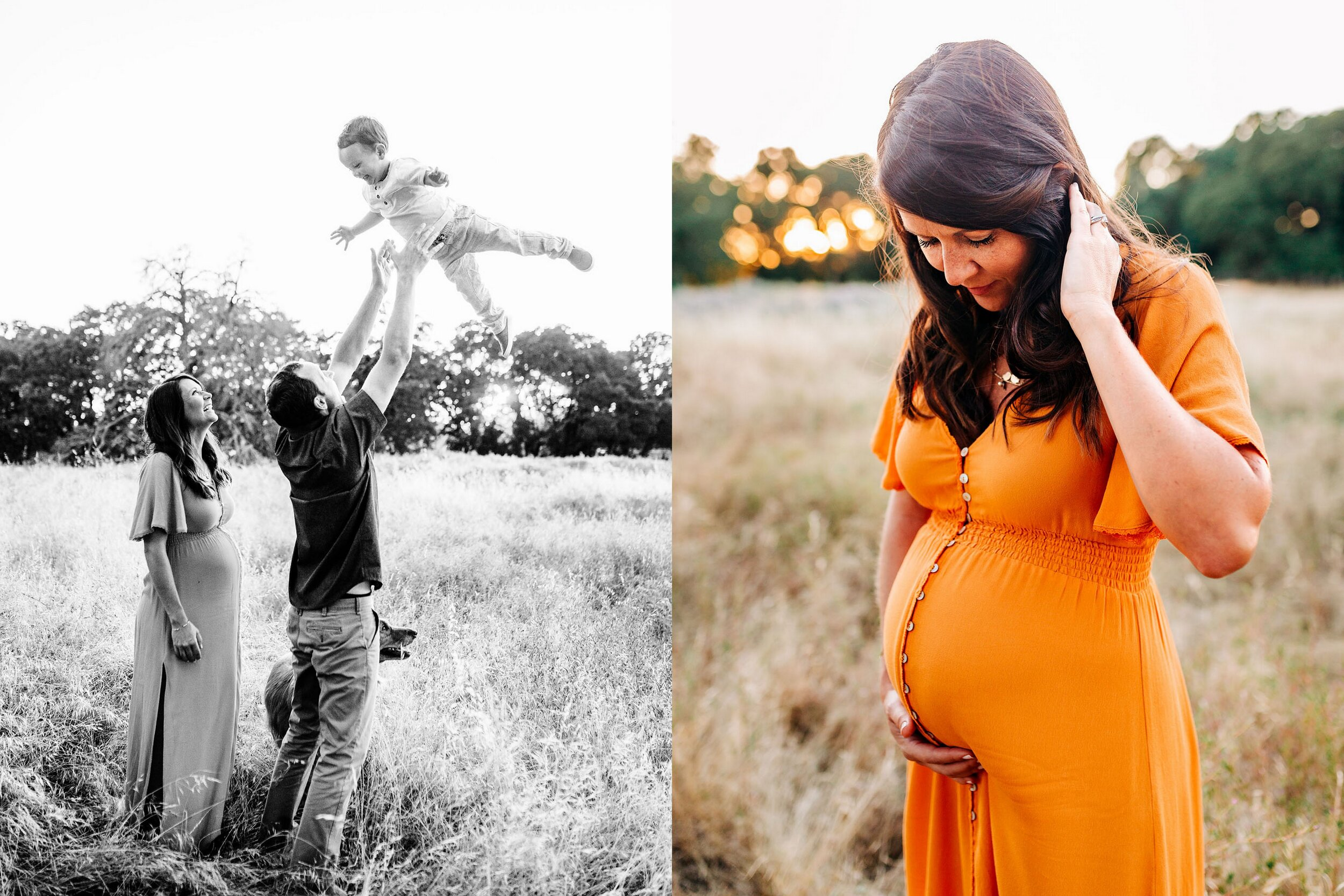 A family of three plays together during a maternity photo session with Roseville photographer Amy Wrigth.