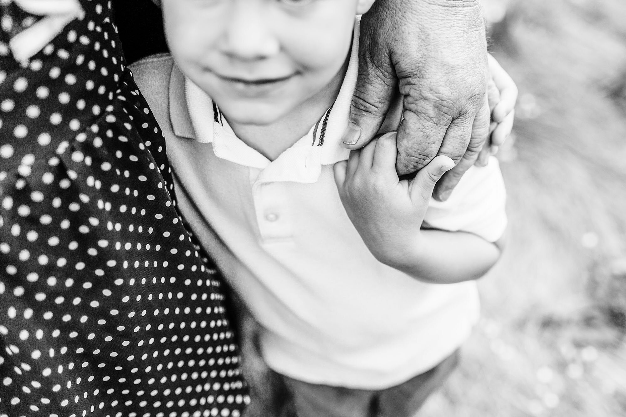 A grandson holds his grandfather's hand during a sweet extended family photo session with Roseville photographer Amy Wright.