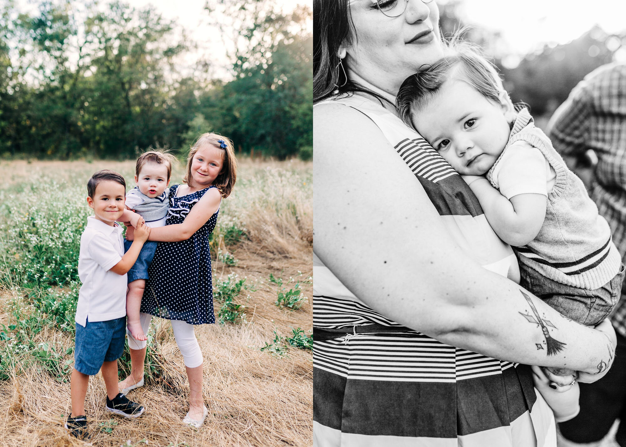 Sweet and playful children are photographed during a family photo session with Amy Wright Photography in Roseville, California.