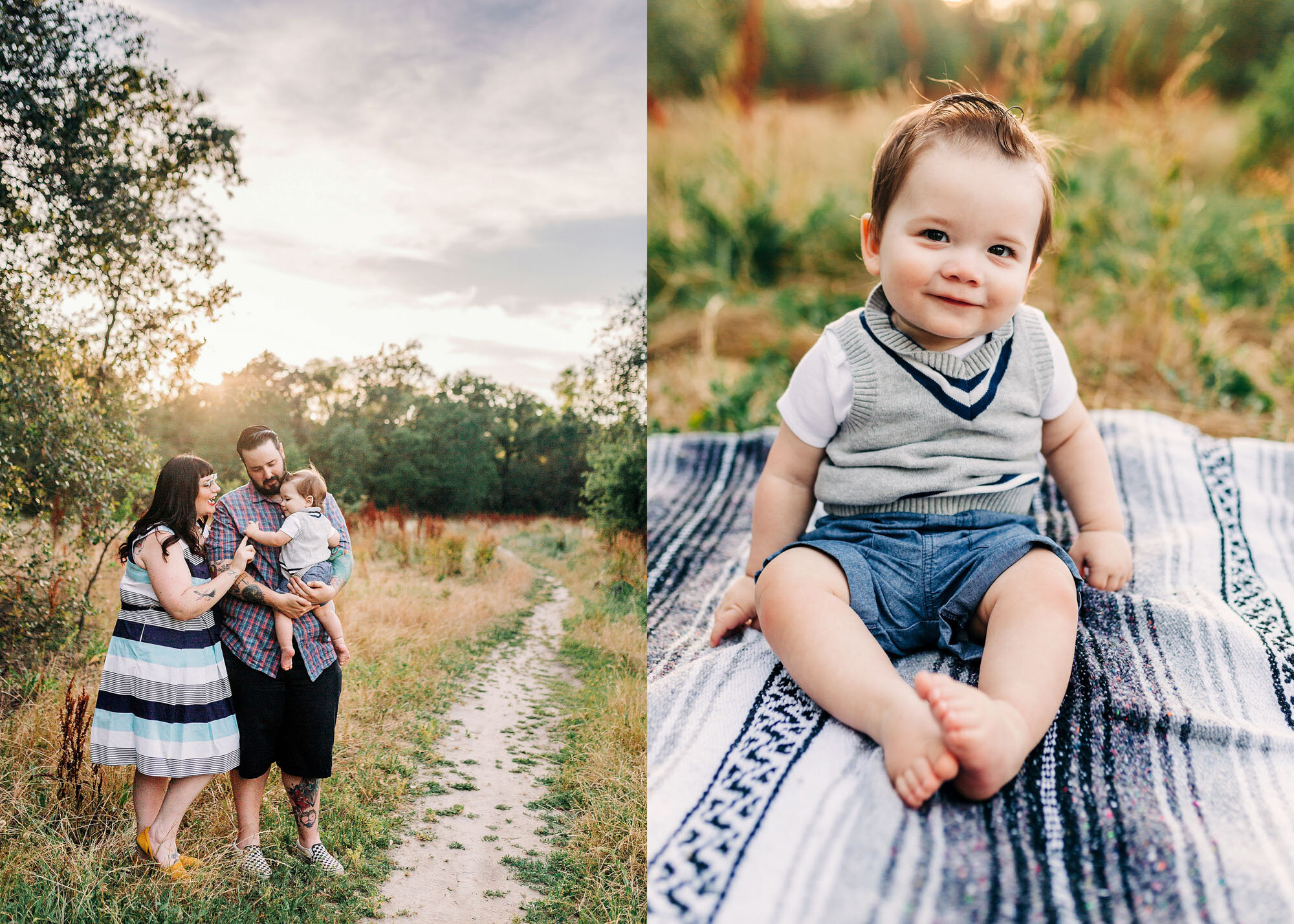 A family of three gets pictures taken during a photo session with Roseville lifestyle photographer AMy Wright.