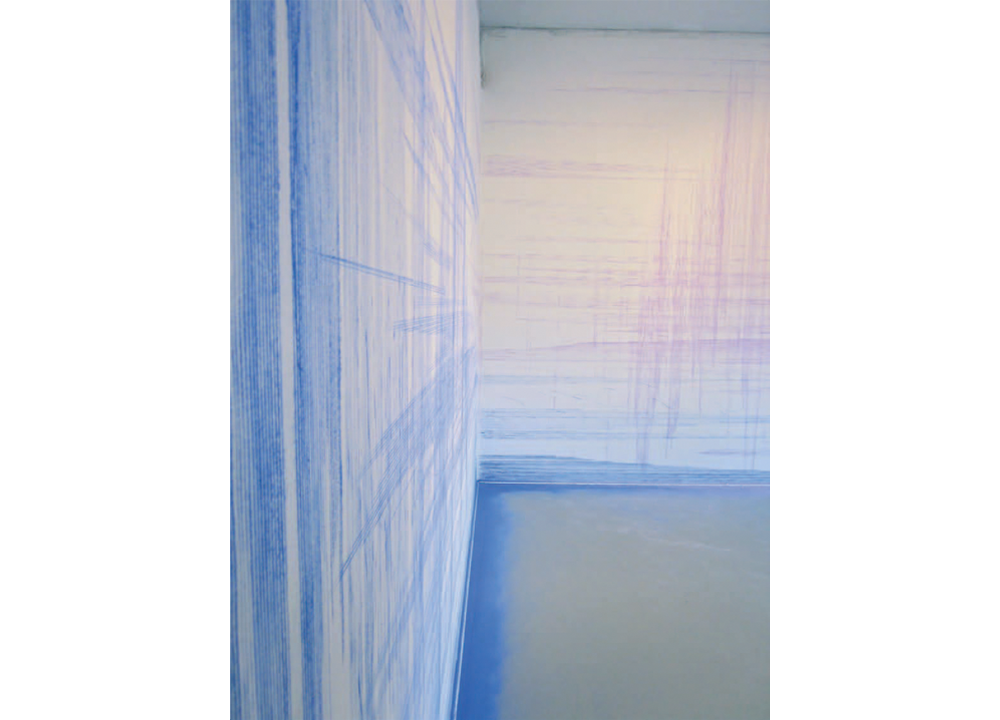 Charming the Multiples (Detail), 2011, Construction grade blue and lavendar chalk and snapline tool, dimensions variable