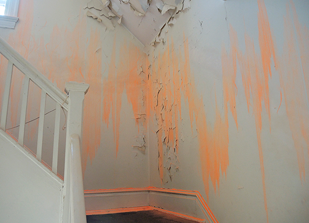Installation for Govenor's Island, 2015, Construction grade orange chalk and snapline tool, Dimensions variable