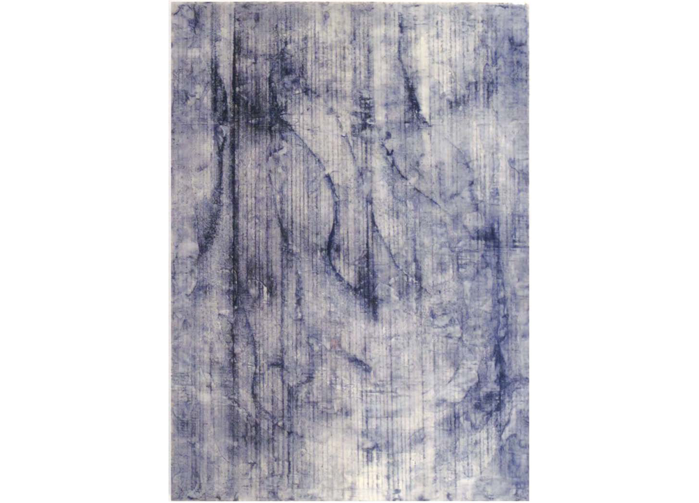 Stolen Bedroom Sets , 2013, Resin, construction grade blue and black chalk and snapline tool on panel, 23 1/2 x 17 1/4 inches