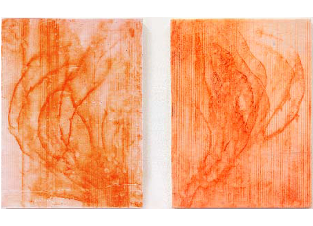 Yosemite's Machinery and  Threads Under Impostor Twins , 2012, Resin, construction grade orange chalk and snapline tool, 24 x 18 inches each