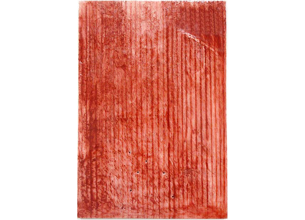Cleopatra's Temporary Snare , 2012, Resin, construction grade red chalk and snapline tool on panel, 11 1/2 x 8 inches