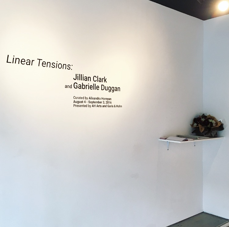 Welcome... Linear Tensions: Jillian Clark and Gabrielle Duggan. Curated by Alixandra Hornyan, August 4 - September 3, Presented by AH Arts and Garis & Hahn