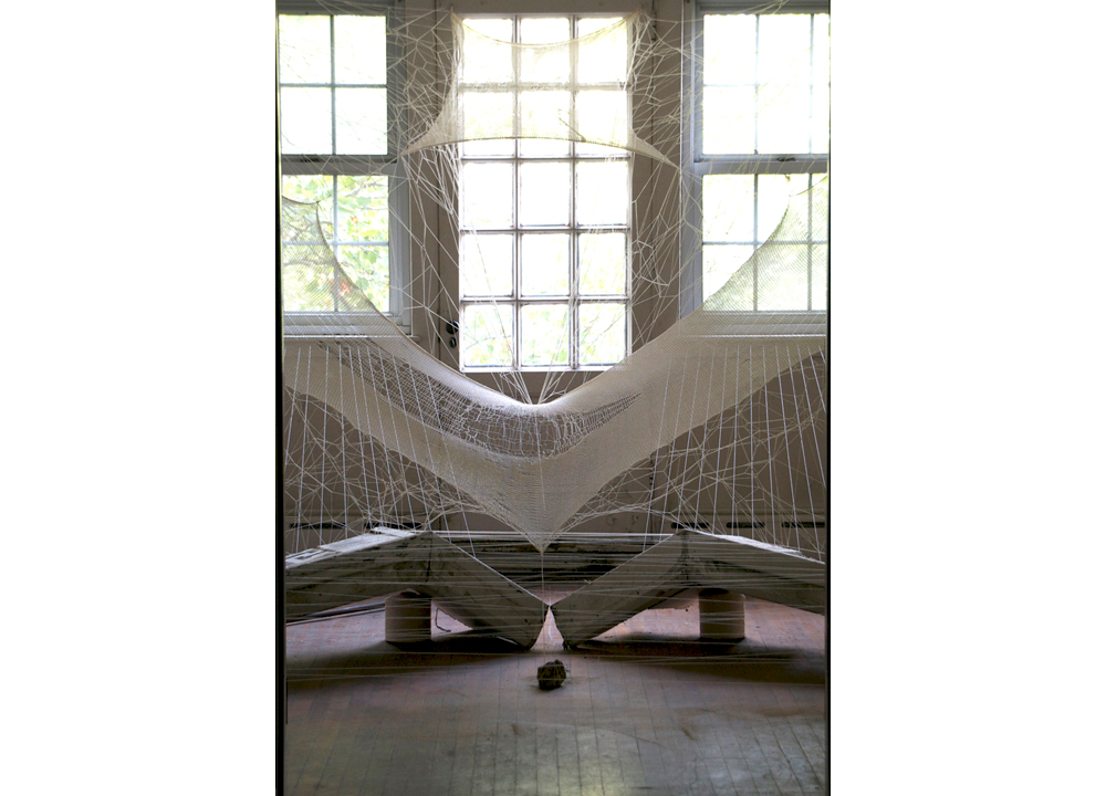Fictitious Force  , 2013, Cotton, architectural remnants and stones, 12 x 14 x 9 feet
