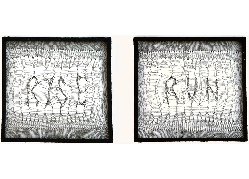 Rise/Run (fight/flight), 2015,polyester, wood, paint,20 x 20 inch diptych