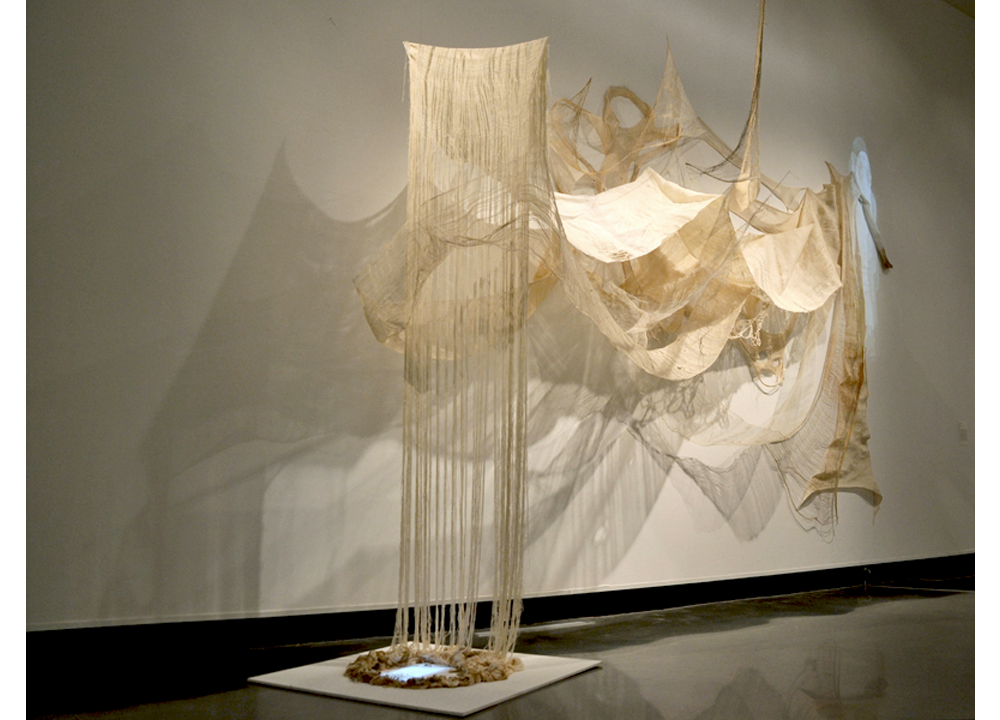 Untitled (Out of Fashion), 2011, Cotton, rabbit skin glue, and time based media, 6 x 18 x 27 feet (Collaboration with Meghan Holliday,Liz Morrison,Amy Quinn, and Shelley Smith, as Common Seam Collective)