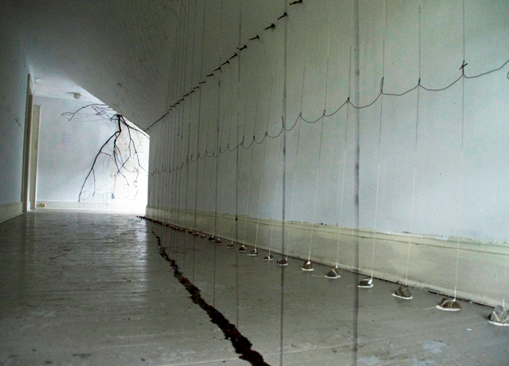Suspension of Belief  , 2014, Cotton, wire, wood, acrylic and rocks, 12 x 8 x 36 feet